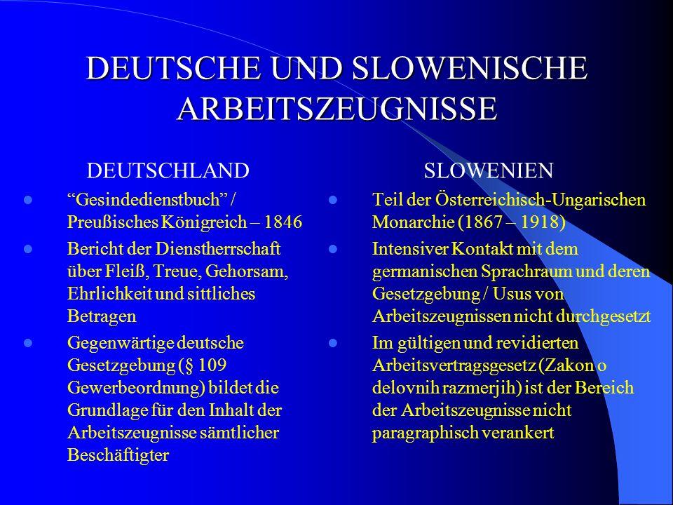 DEUTSCHE UND SLOWENISCHE ARBEITSZEUGNISSE