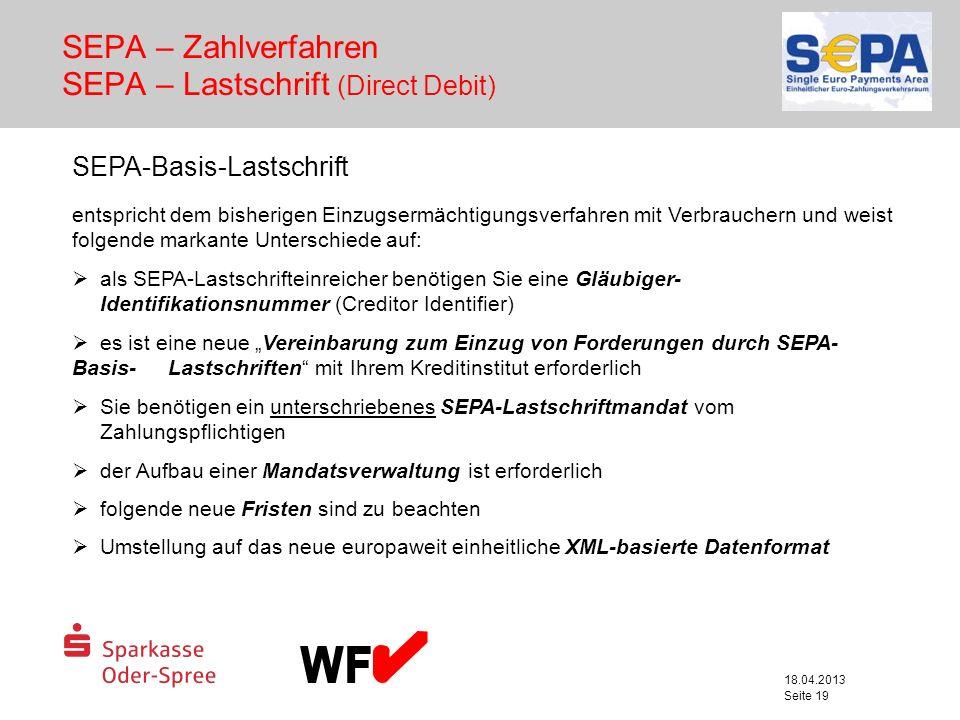 SEPA – Zahlverfahren SEPA – Lastschrift (Direct Debit)