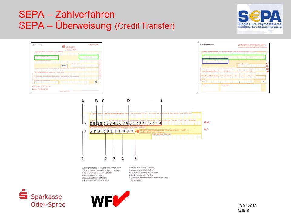 SEPA – Zahlverfahren SEPA – Überweisung (Credit Transfer)