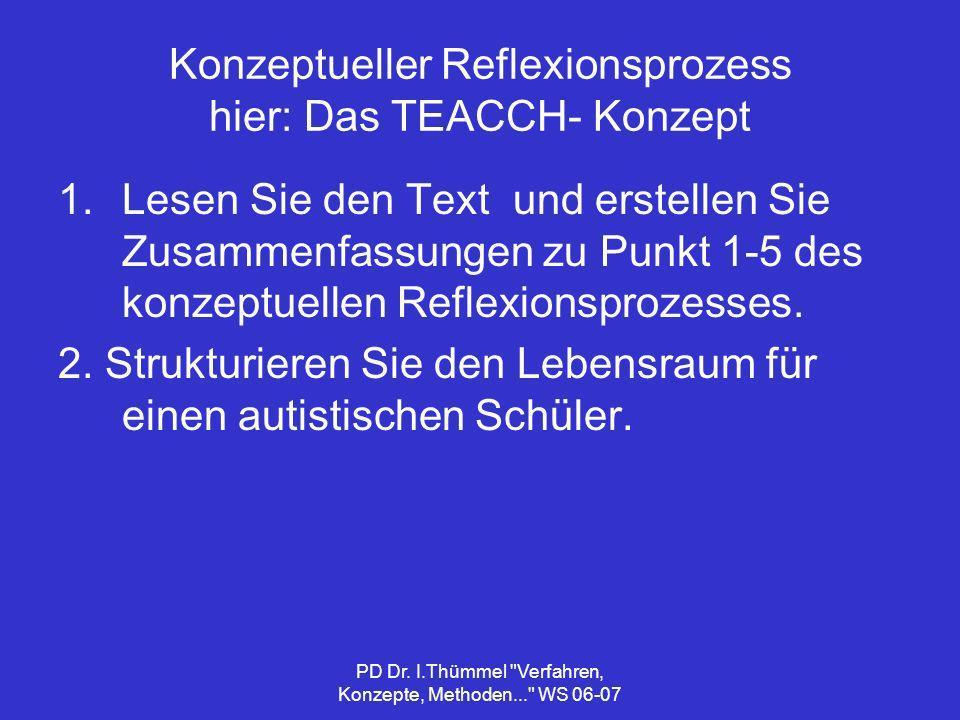 Konzeptueller Reflexionsprozess hier: Das TEACCH- Konzept