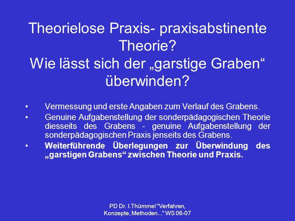 PD Dr. I.Thümmel Verfahren, Konzepte, Methoden... WS 06-07