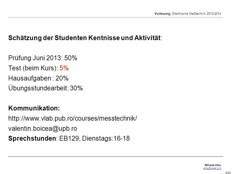 Schätzung der Studenten Kentnisse und Aktivität: Prüfung Juni 2013: 50% Test (beim Kurs): 5% Hausaufgaben : 20% Übungsstundearbeit: 30% Kommunikation: http://www.vlab.pub.ro/courses/messtechnik/ valentin.boicea@upb.ro Sprechstunden: EB129, Dienstags:16-18