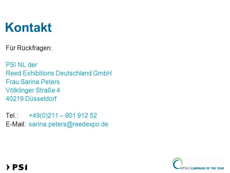 Kontakt Für Rückfragen: PSI NL der Reed Exhibitions Deutschland GmbH