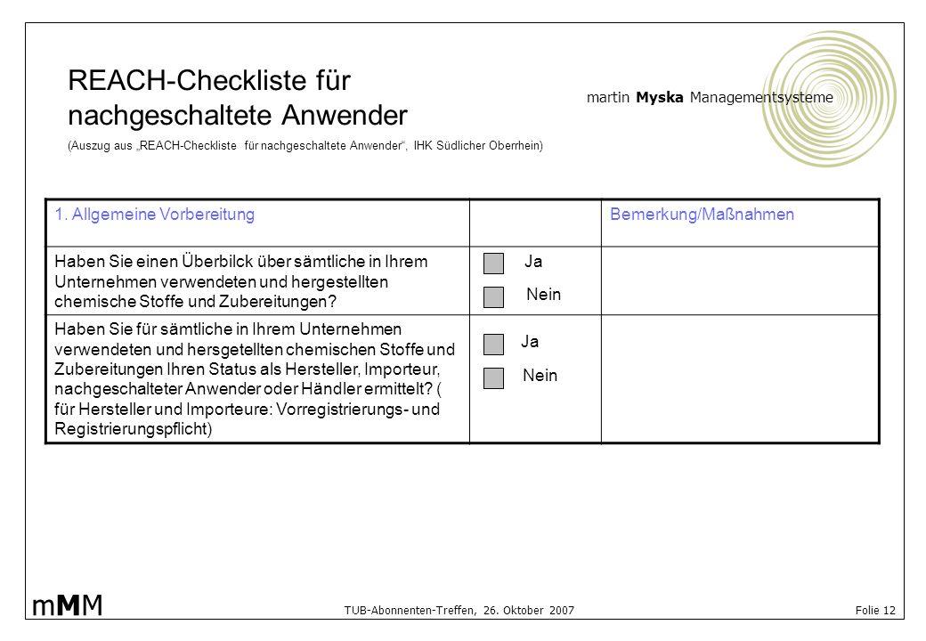 REACH-Checkliste für nachgeschaltete Anwender