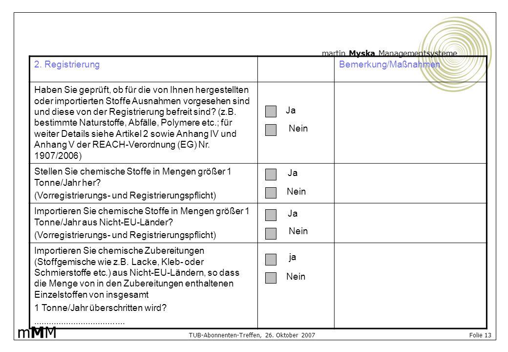 2. Registrierung Bemerkung/Maßnahmen.
