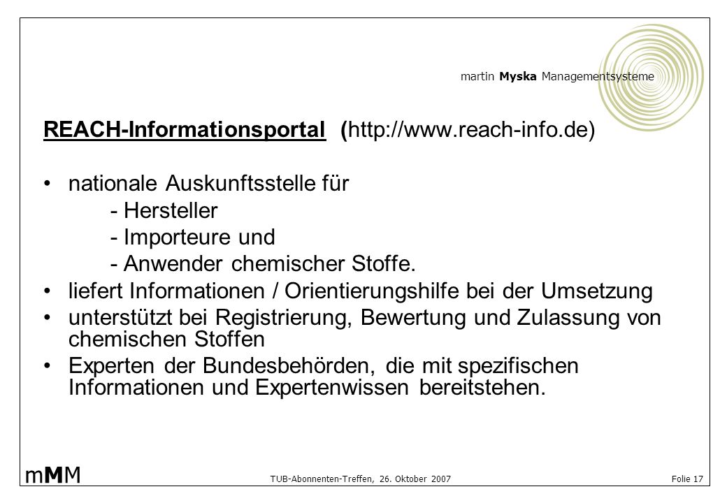 REACH-Informationsportal (http://www.reach-info.de)