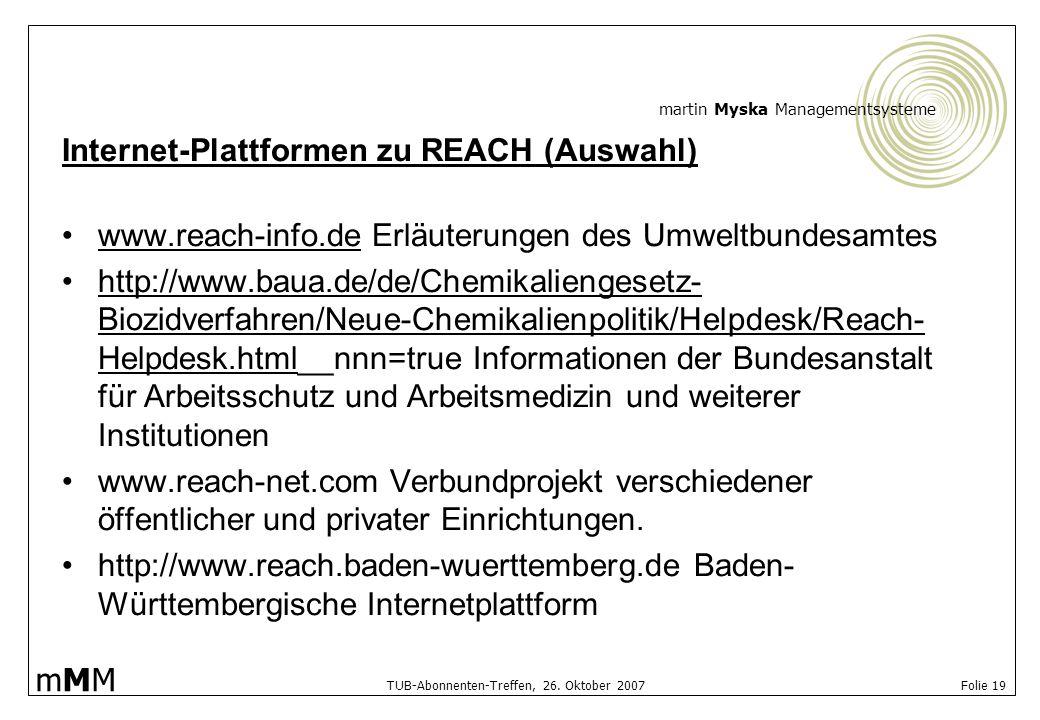 Internet-Plattformen zu REACH (Auswahl)