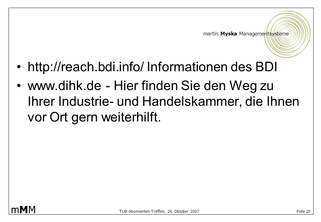 http://reach.bdi.info/ Informationen des BDI