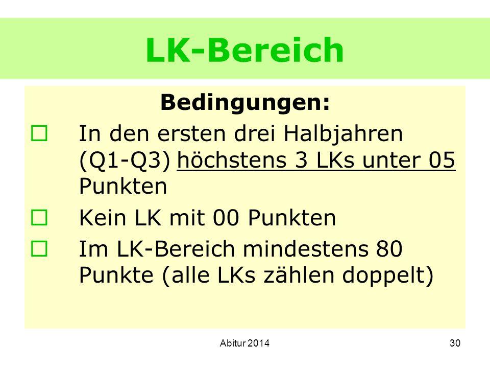 LK-Bereich Bedingungen: