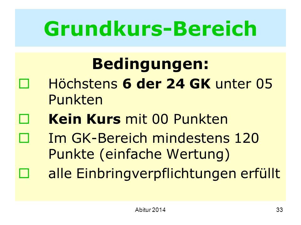 Grundkurs-Bereich Bedingungen: Höchstens 6 der 24 GK unter 05 Punkten