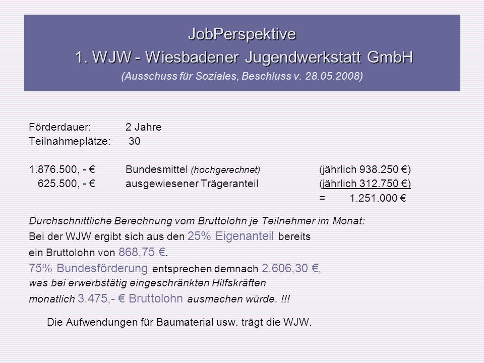 JobPerspektive 1. WJW - Wiesbadener Jugendwerkstatt GmbH (Ausschuss für Soziales, Beschluss v. 28.05.2008)