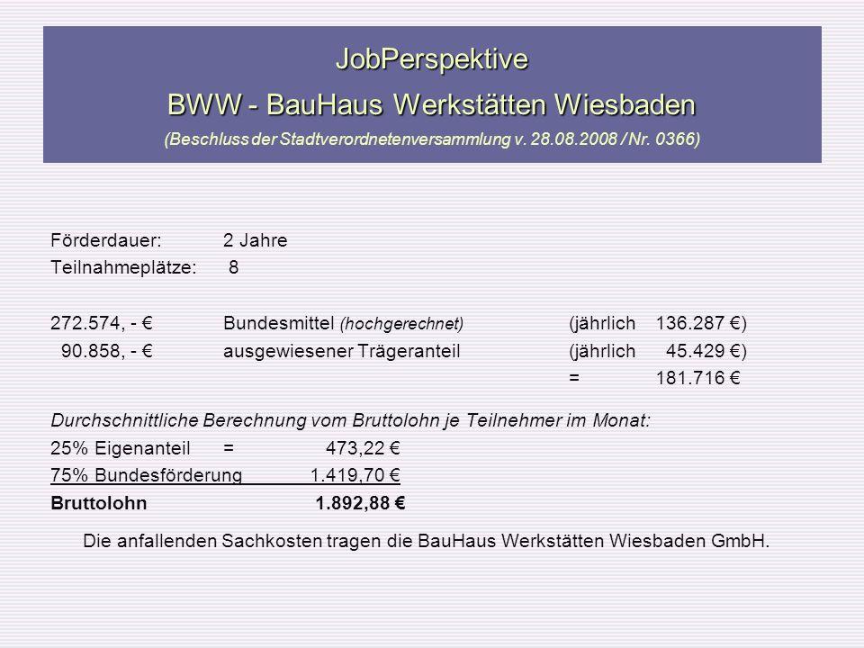 JobPerspektive BWW - BauHaus Werkstätten Wiesbaden (Beschluss der Stadtverordnetenversammlung v. 28.08.2008 / Nr. 0366)