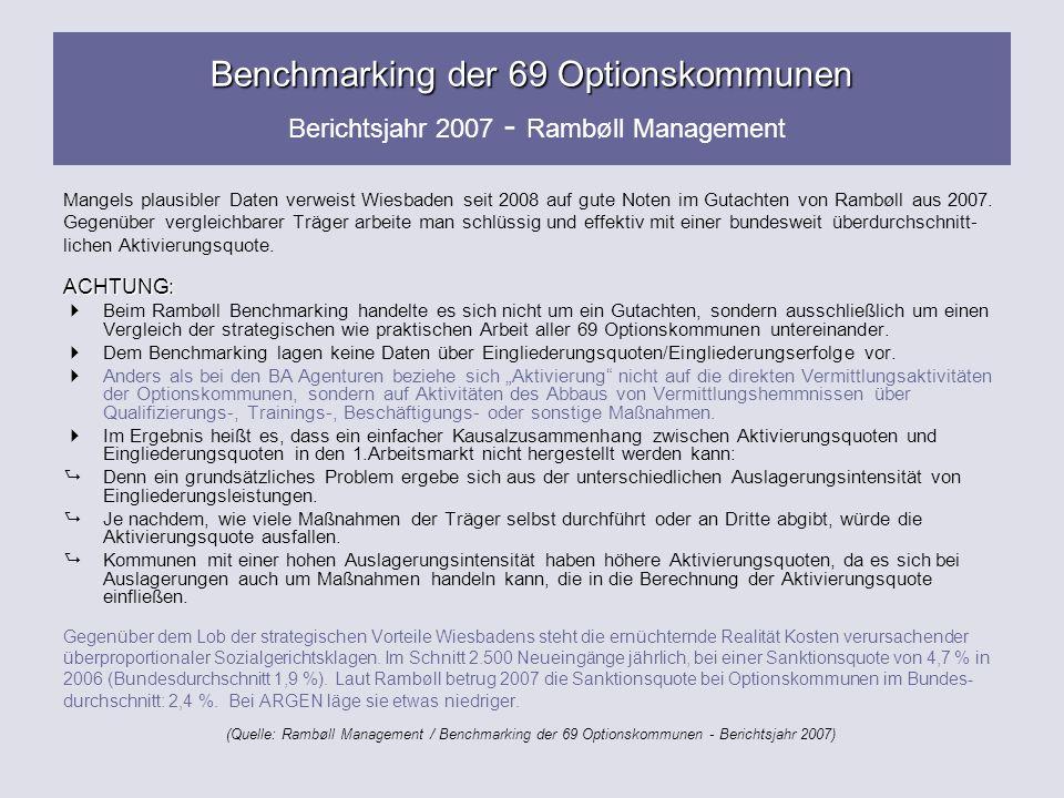 Benchmarking der 69 Optionskommunen Berichtsjahr 2007 - Rambøll Management