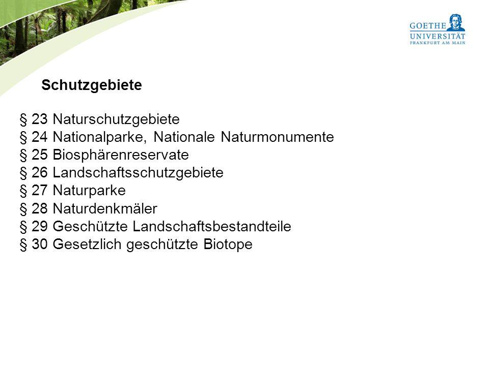 § 24 Nationalparke, Nationale Naturmonumente § 25 Biosphärenreservate