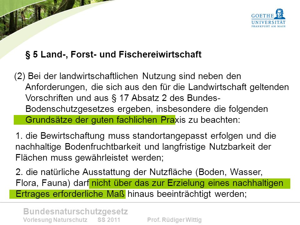 § 5 Land-, Forst- und Fischereiwirtschaft