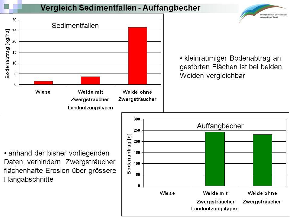 Vergleich Sedimentfallen - Auffangbecher