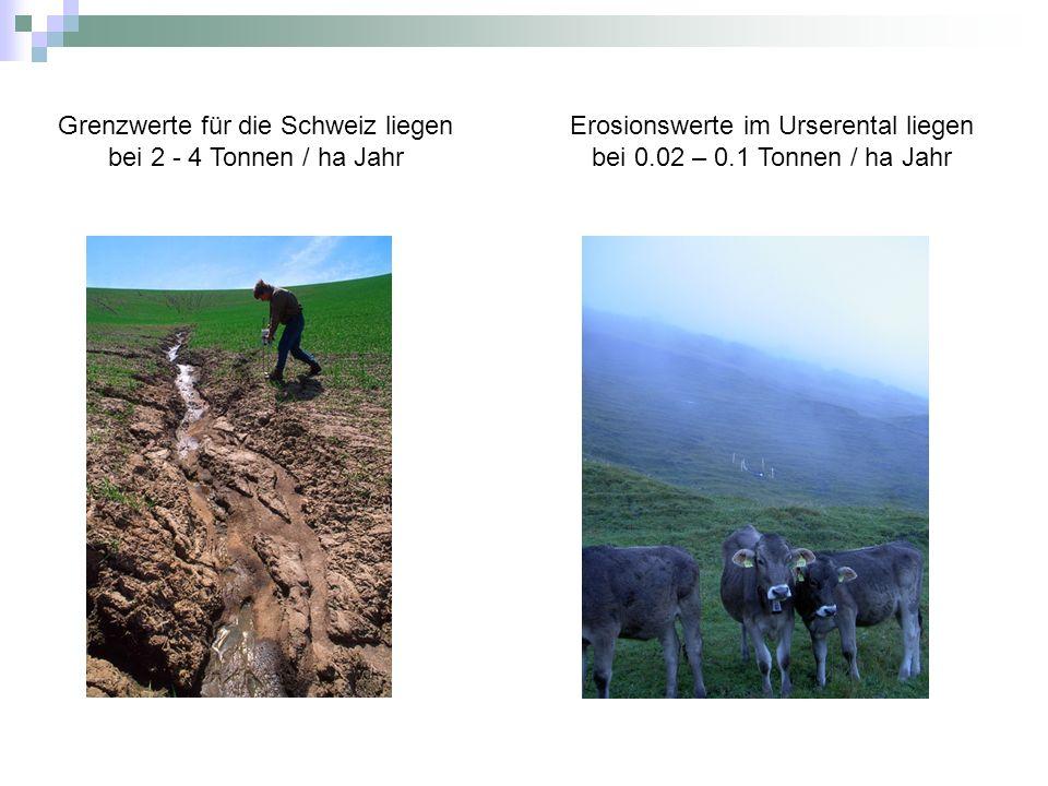 Grenzwerte für die Schweiz liegen bei 2 - 4 Tonnen / ha Jahr
