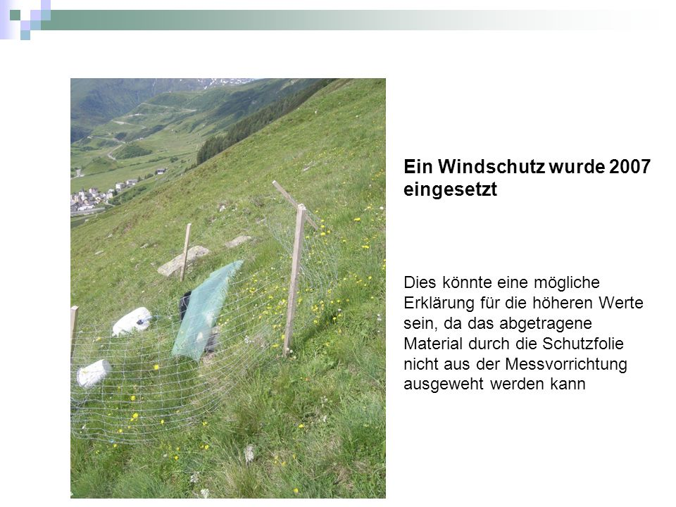 Ein Windschutz wurde 2007 eingesetzt