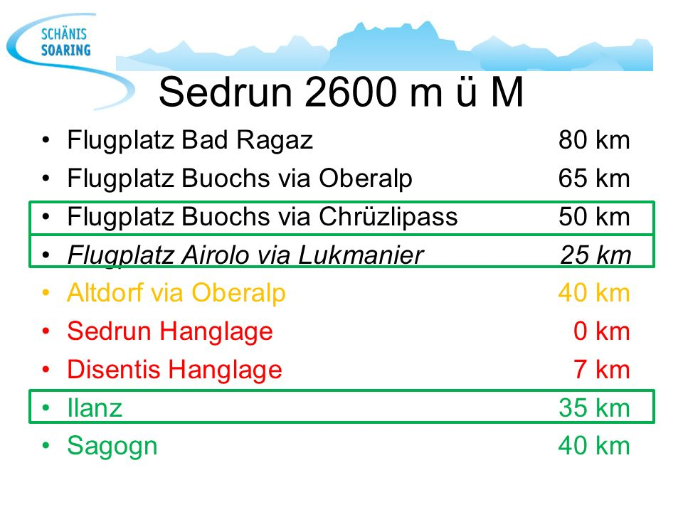 Sedrun 2600 m ü M Flugplatz Bad Ragaz 80 km