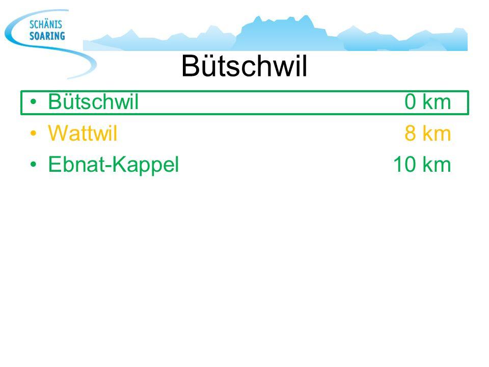 Bütschwil Bütschwil 0 km Wattwil 8 km Ebnat-Kappel 10 km