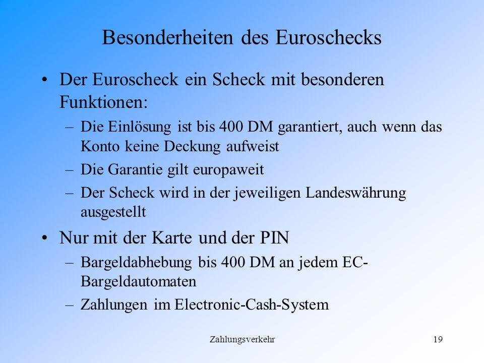 Besonderheiten des Euroschecks