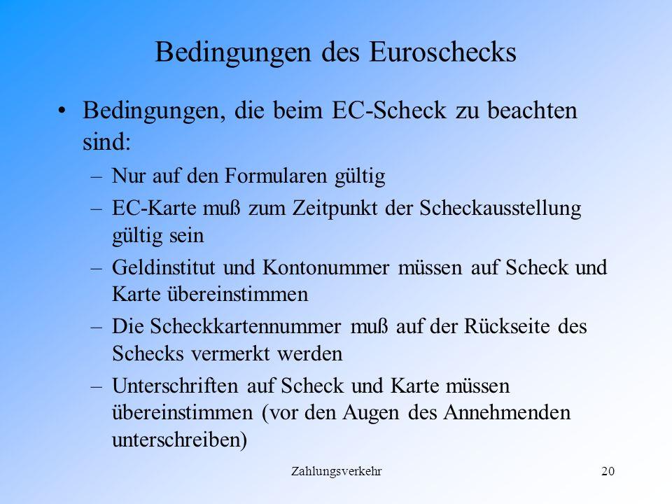 Bedingungen des Euroschecks