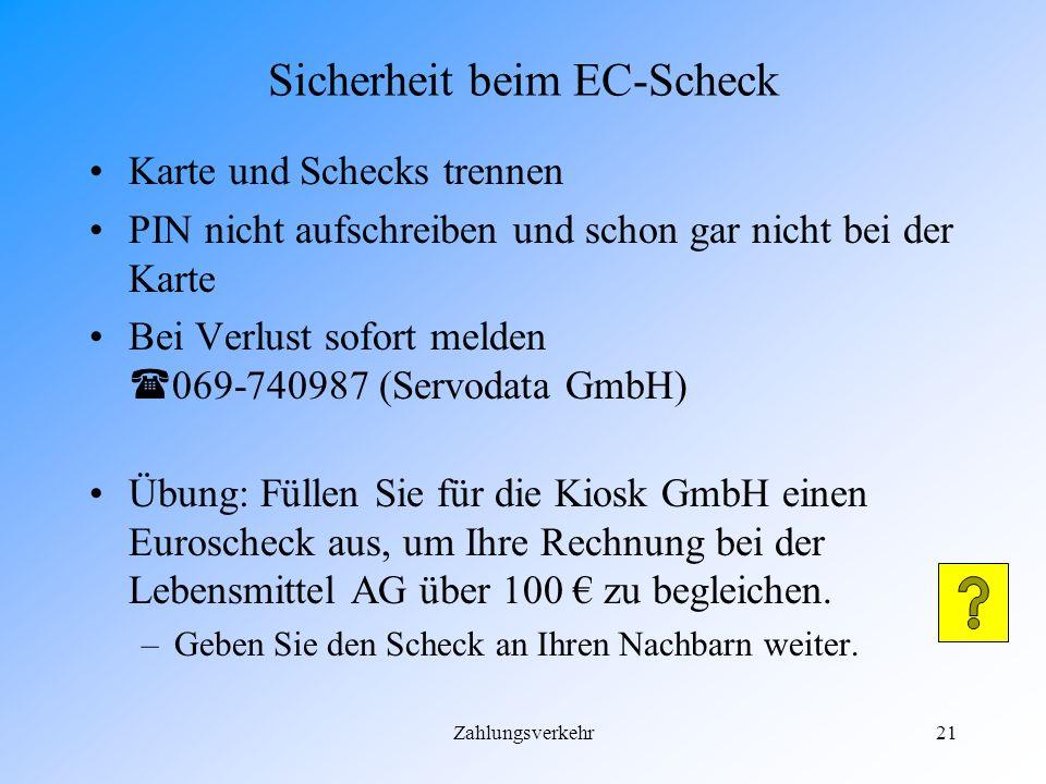 Sicherheit beim EC-Scheck
