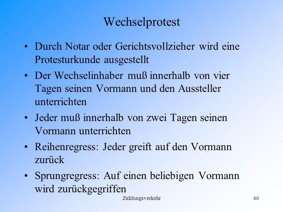 Wechselprotest Durch Notar oder Gerichtsvollzieher wird eine Protesturkunde ausgestellt.