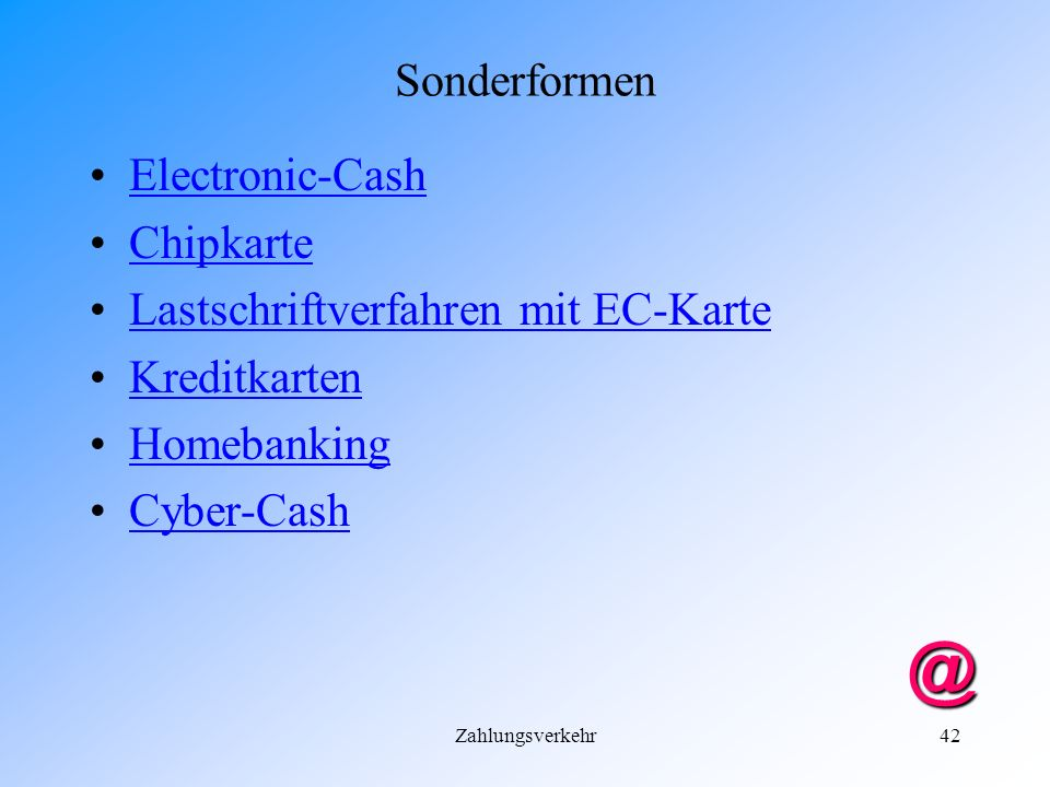 @ Sonderformen Electronic-Cash Chipkarte