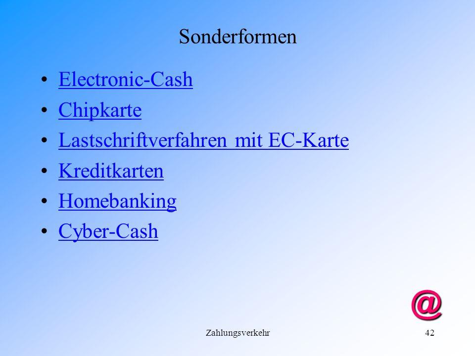 @ Sonderformen Electronic-Cash Chipkarte