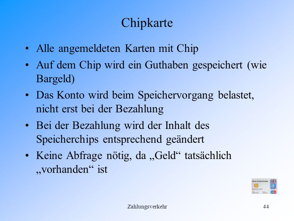 Chipkarte Alle angemeldeten Karten mit Chip