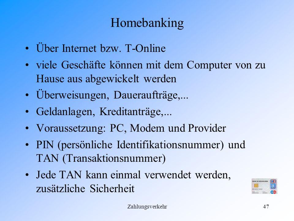Homebanking Über Internet bzw. T-Online