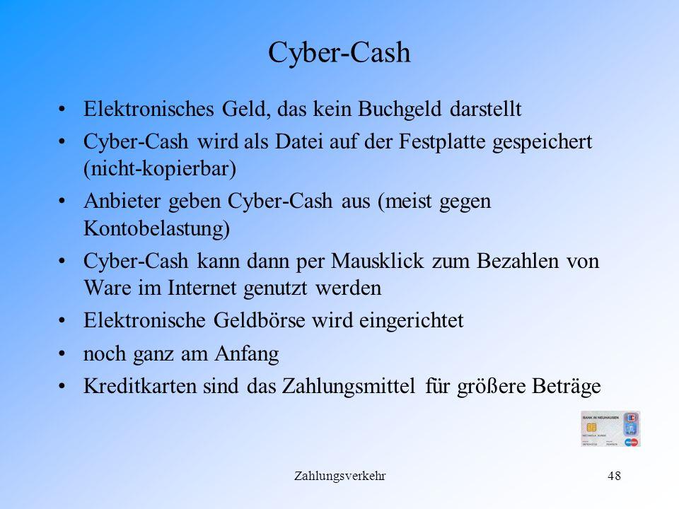 Cyber-Cash Elektronisches Geld, das kein Buchgeld darstellt
