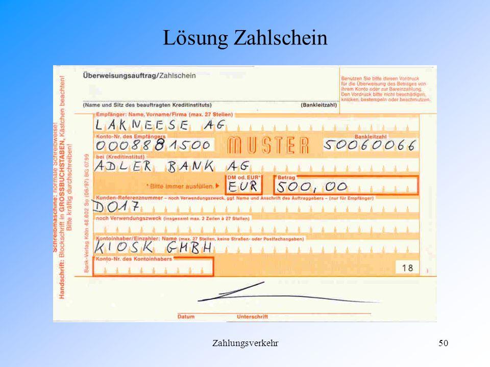 Lösung Zahlschein Zahlungsverkehr