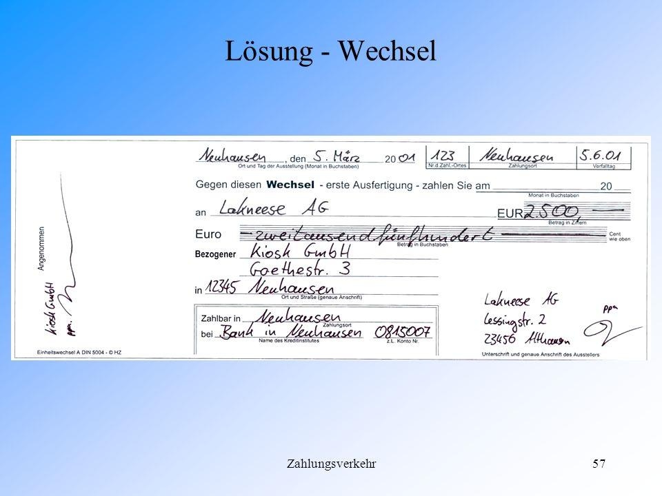 Lösung - Wechsel Zahlungsverkehr