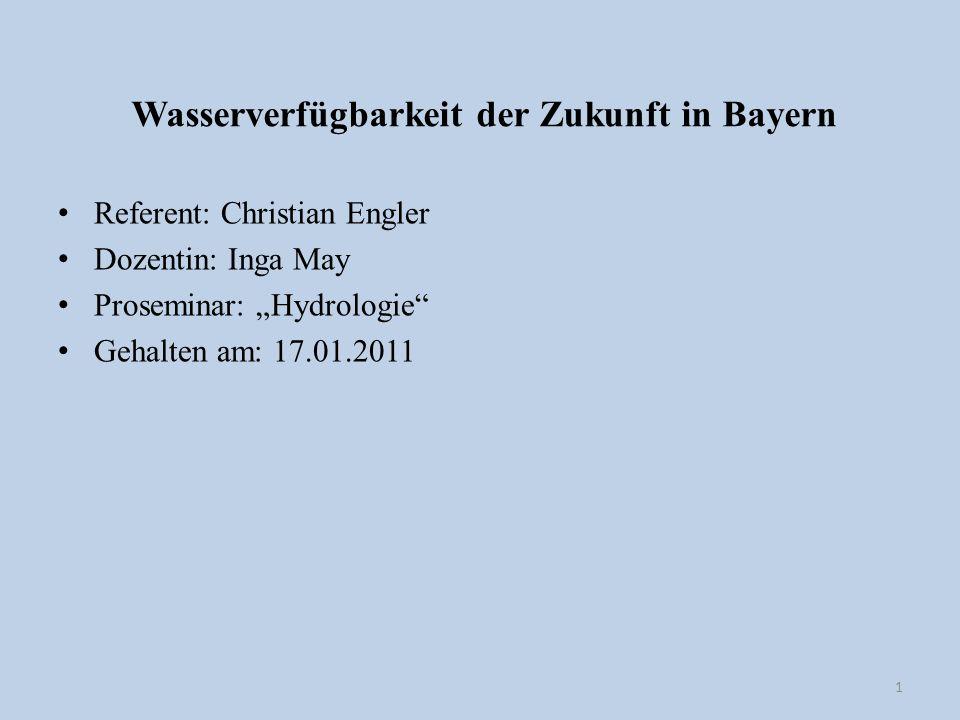 Wasserverfügbarkeit der Zukunft in Bayern