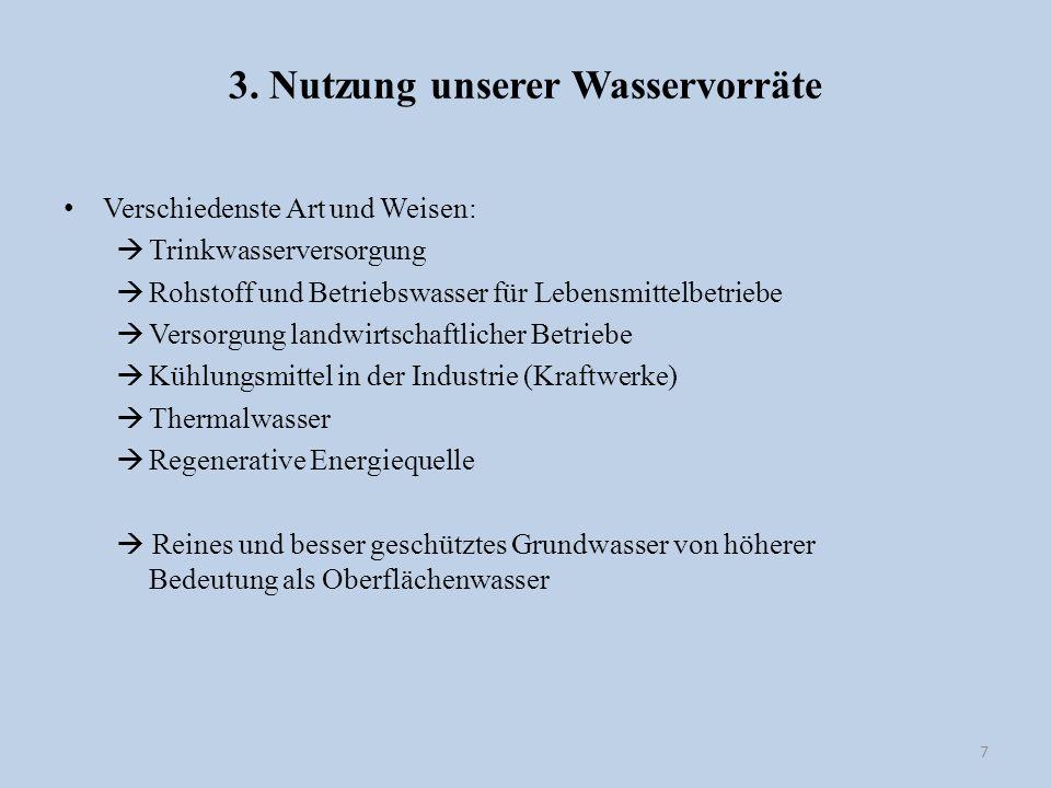 3. Nutzung unserer Wasservorräte