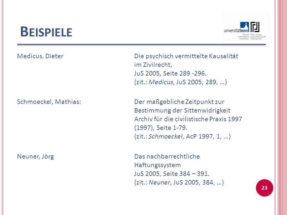 Beispiele Medicus, Dieter