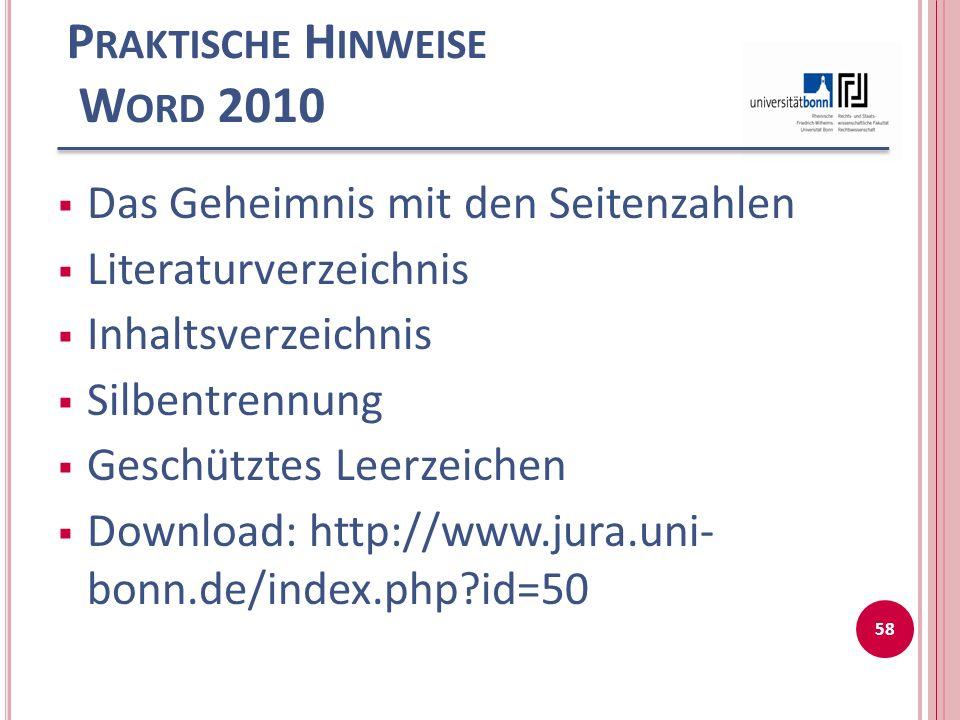 Praktische Hinweise Word 2010