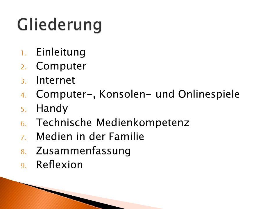 Gliederung Einleitung Computer Internet