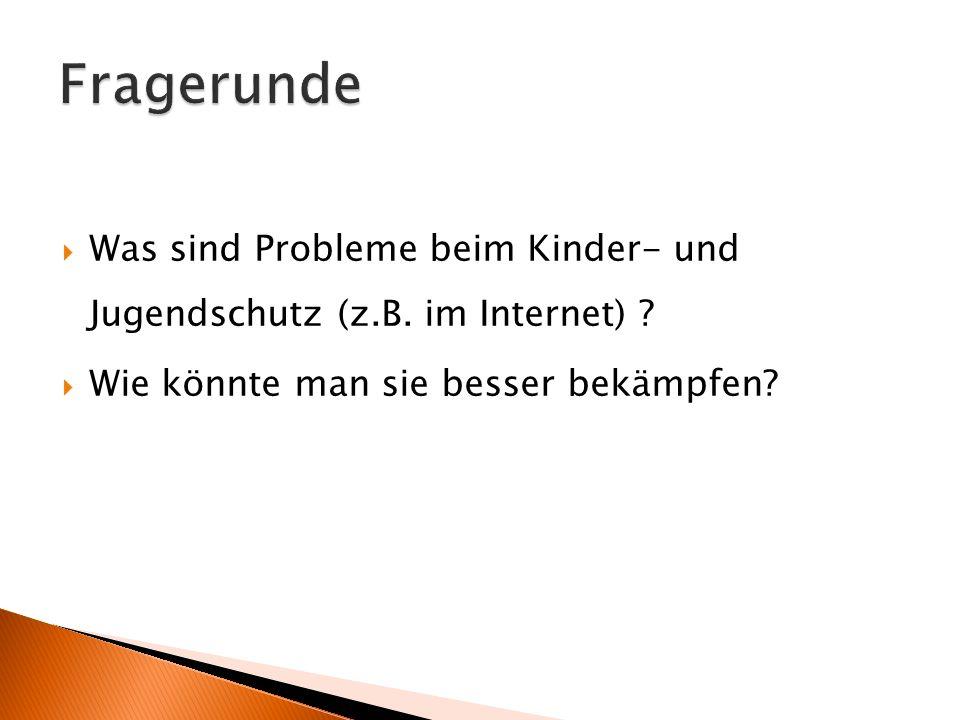 Fragerunde Was sind Probleme beim Kinder- und Jugendschutz (z.B.