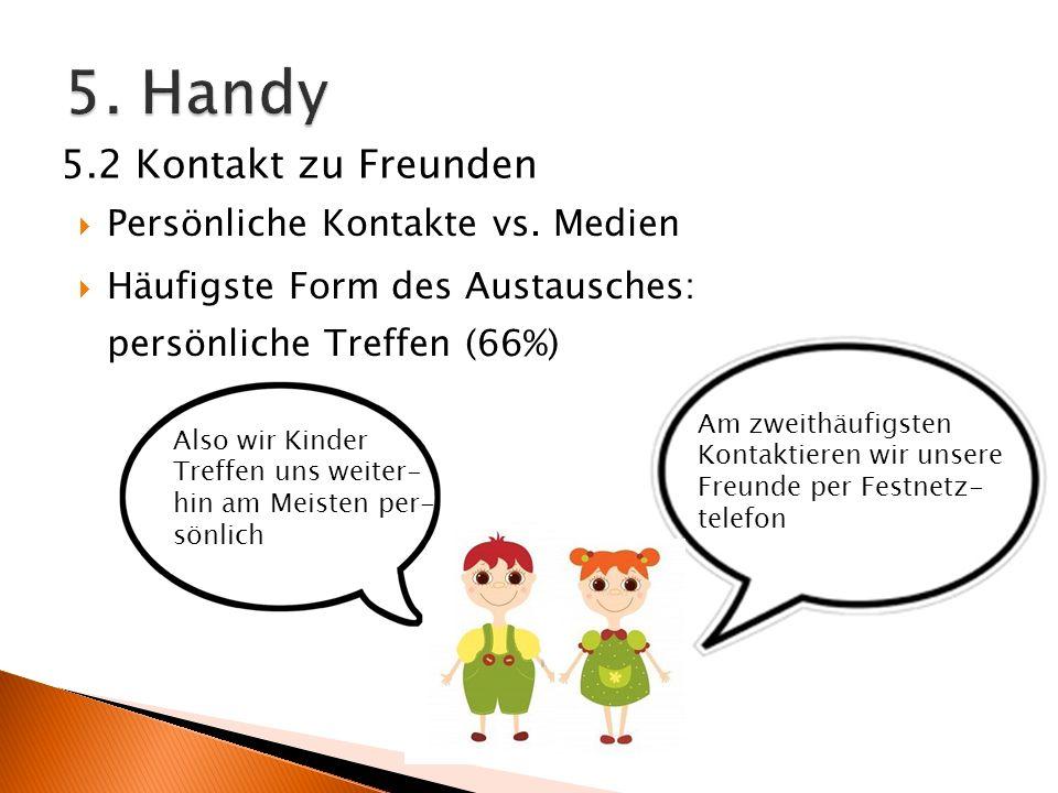 5. Handy 5.2 Kontakt zu Freunden Persönliche Kontakte vs. Medien