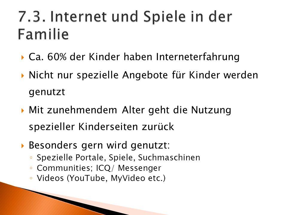 7.3. Internet und Spiele in der Familie