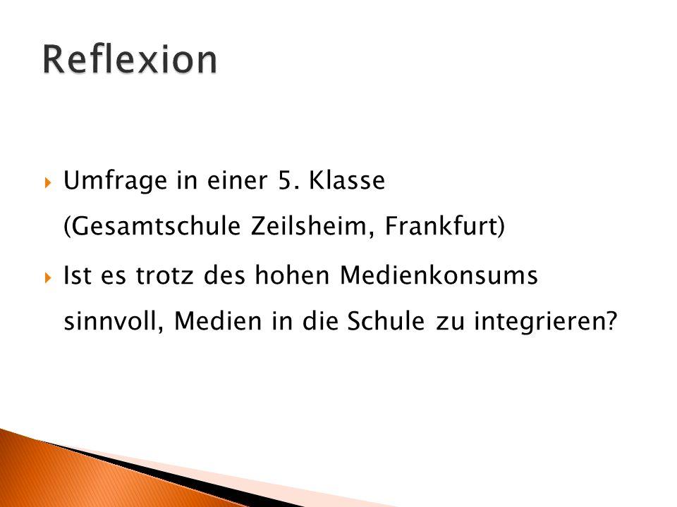 Reflexion Umfrage in einer 5. Klasse (Gesamtschule Zeilsheim, Frankfurt)