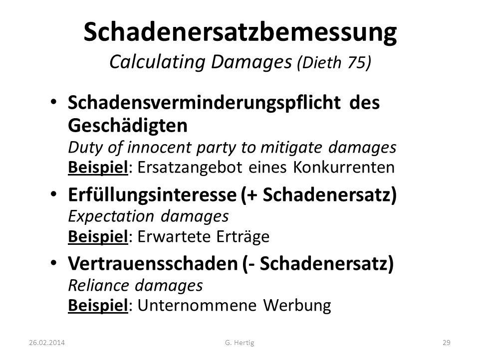 Schadenersatzbemessung Calculating Damages (Dieth 75)