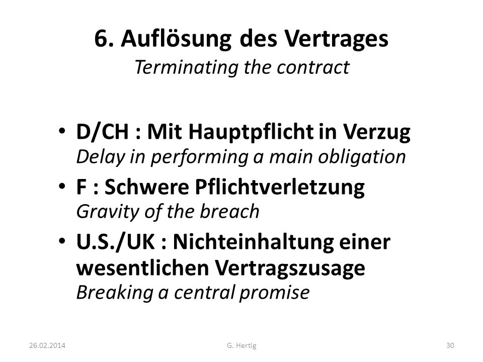 6. Auflösung des Vertrages Terminating the contract