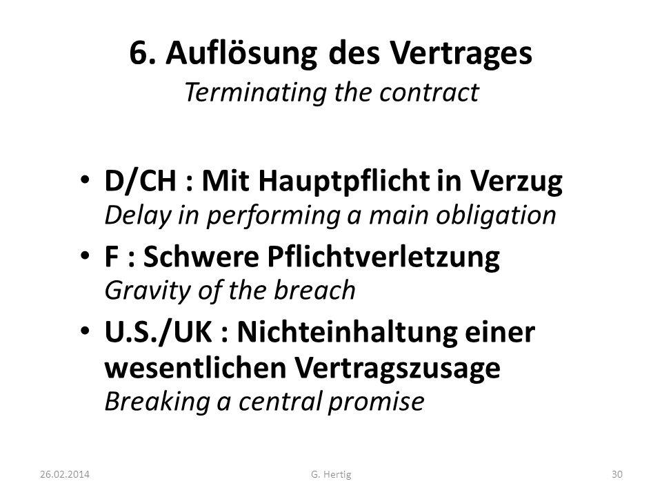 6. Auflösung des Vertrages Terminating the contract