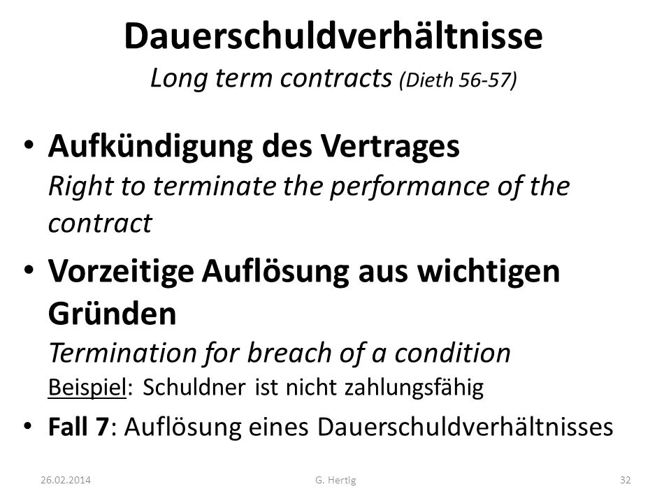 Dauerschuldverhältnisse Long term contracts (Dieth 56-57)
