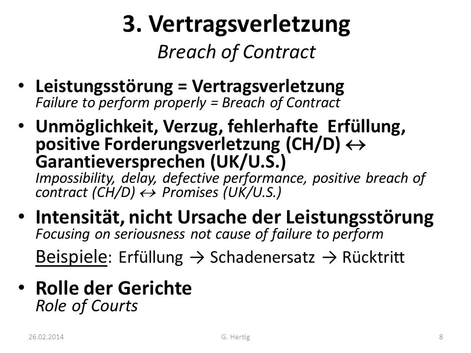 3. Vertragsverletzung Breach of Contract