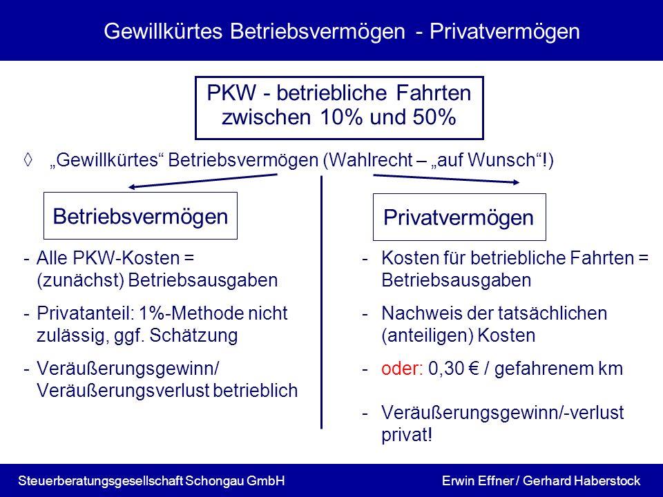 Gewillkürtes Betriebsvermögen - Privatvermögen